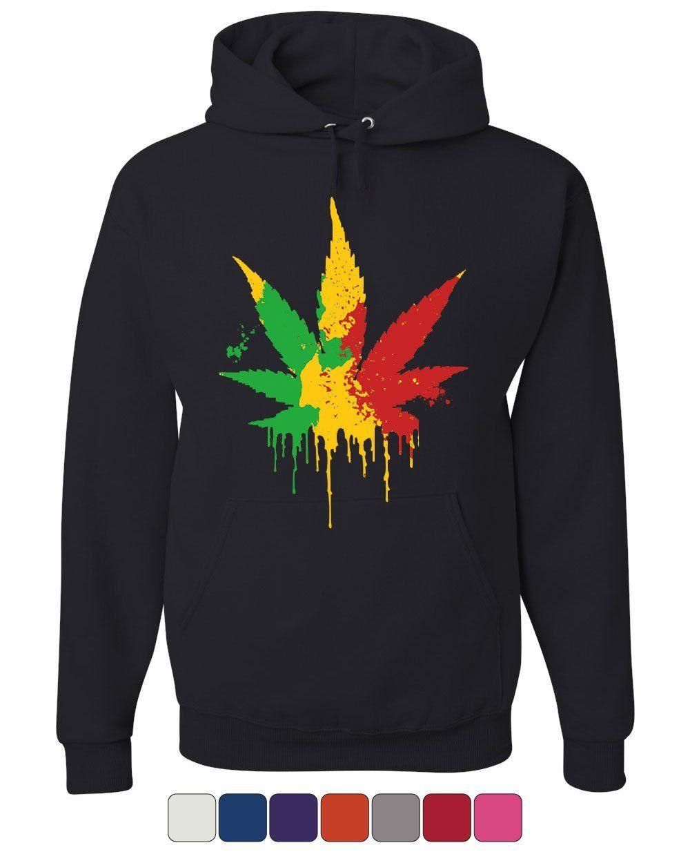 Pot Leaf Rasta Hoodie 420 Weed Using tobacco Reggae Cannabis 1