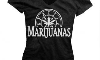 Seattle Marijuanas Parody Humorous Humor Weed Pot Leaf Ganja Juniors V-neck T-shirt 11