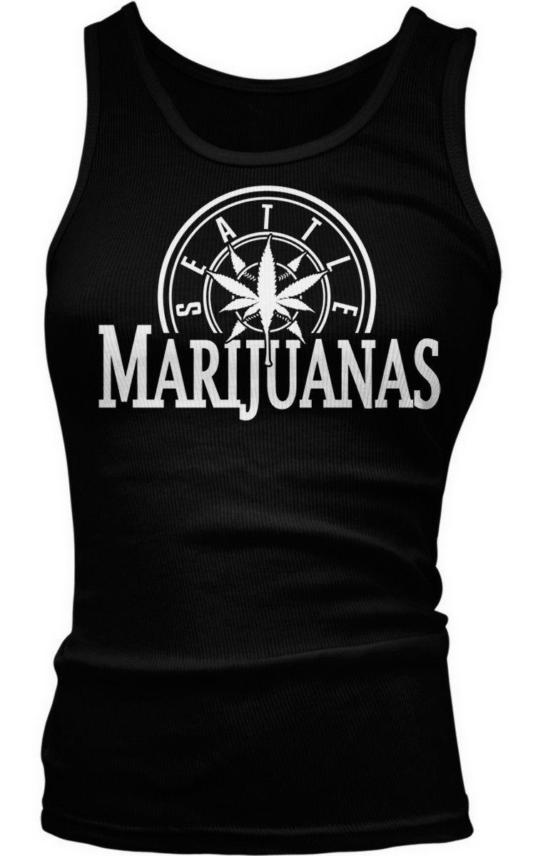 Seattle Marijuanas Parody Humorous Humor Weed Pot Leaf Stoner Boy Beater Tank Best 1
