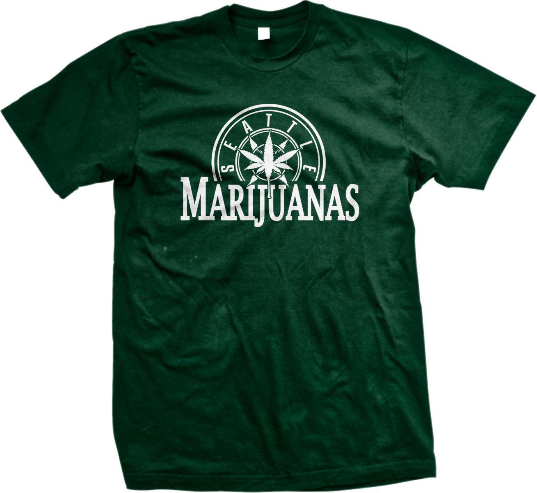 Seattle Marijuanas Parody Humorous Humor Weed Pot Leaf Stoner Ganja 420 Mens Tshirt 1
