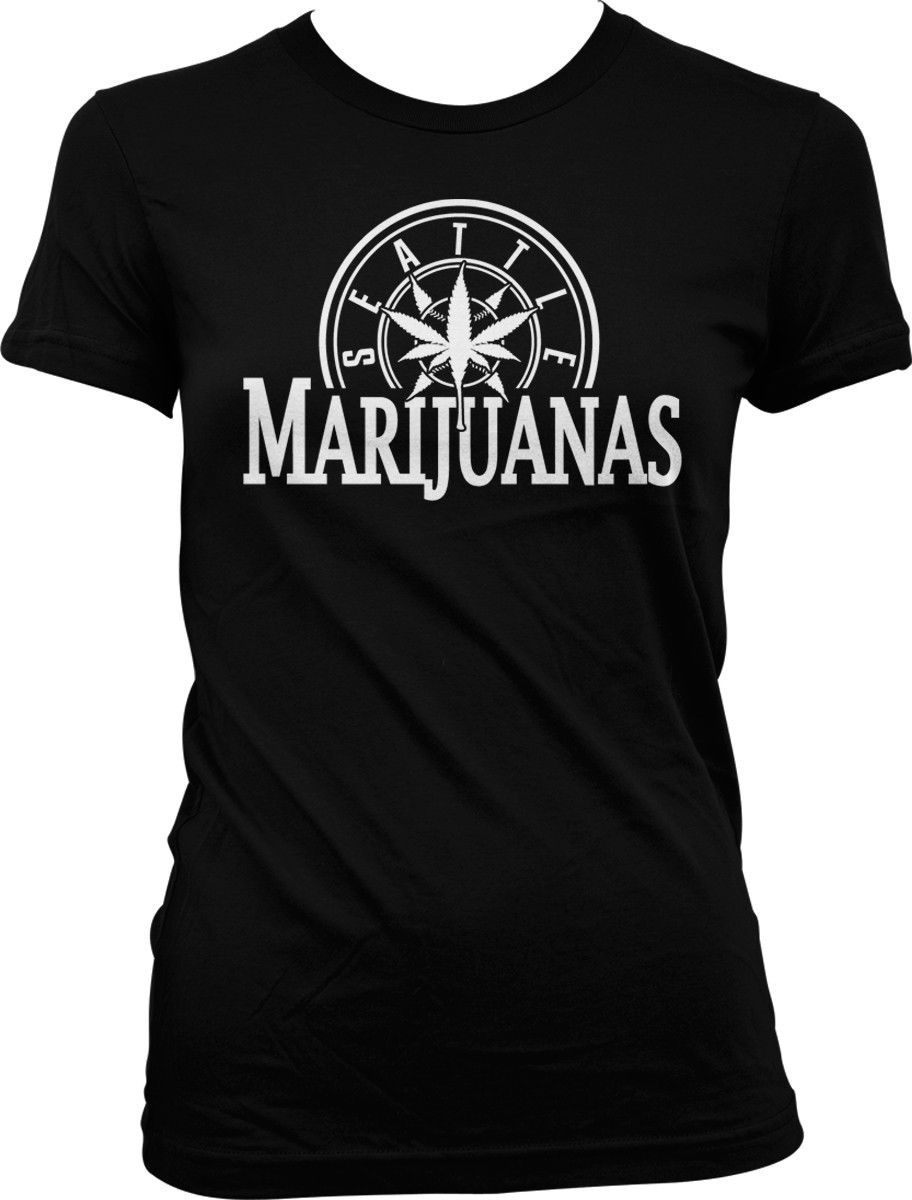 Seattle Marijuanas Parody Amusing Humor Weed Pot Leaf Stoner Ganja Juniors T-shirt 1
