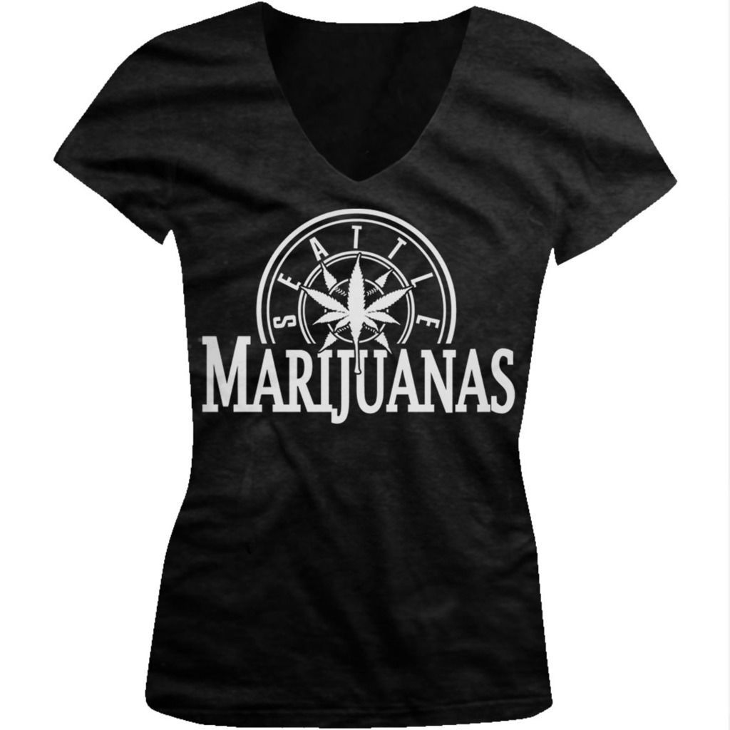 Seattle Marijuanas - Pot Head Weed Funny Sayings  Juniors V-neck T-shirt 2