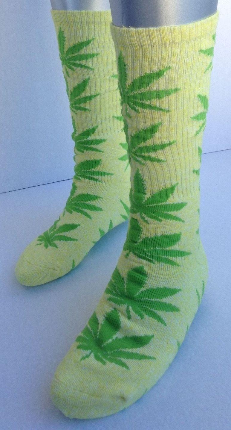 THC Marijuanas Leaf Socks Nice Yellow/Green 1