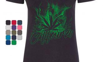 Califour 20 420 Women's V-Neck T-Shirt Pot Weed Smoking cigarettes Cali CA 420 Marijuana 9