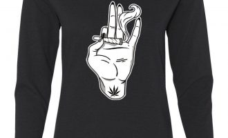 Hand Keeping a Joint Women's Extended Sleeve Tee Smoking cigarettes 420 Pot Weed Kush Cannabis 2