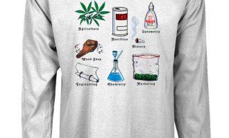 Very long sleeve t-shirt amusing pot layout tee shirt for males hashish weed marijuana 1