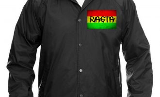 Men's Rasta Flag Chest Black Windbreaker Jacket Weed Jamaican Blunt Marijuana 7