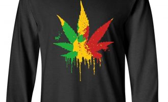 Pot Leaf Rasta Very long Sleeve T-Shirt420 Weed Smoking Reggae Marijuana 12