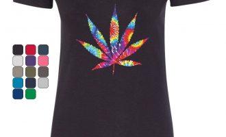 Tie Dye Pot Leaf Women's V-Neck T-Shirt Smoking 420 Weed Cannabis Cannabis 7