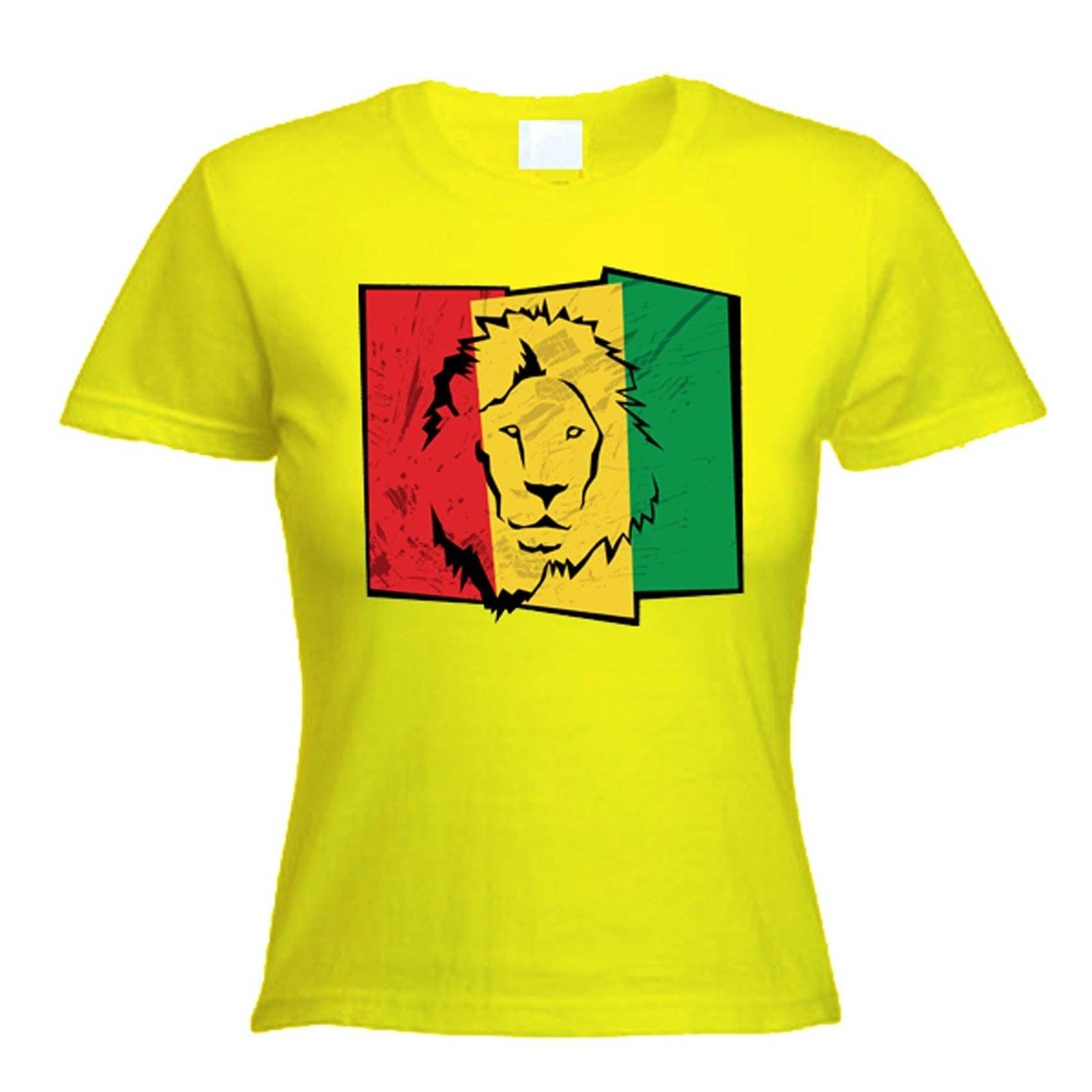LION OF JUDAH FLAG WOMENS T-SHIRT - rasta reggae bob marley, cannabis, marijuana 1