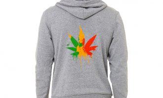 Men's Dripping Rasta Weed Leaf C9 Grey Zipper Hoodie High Blunt Kush Marijuana 12
