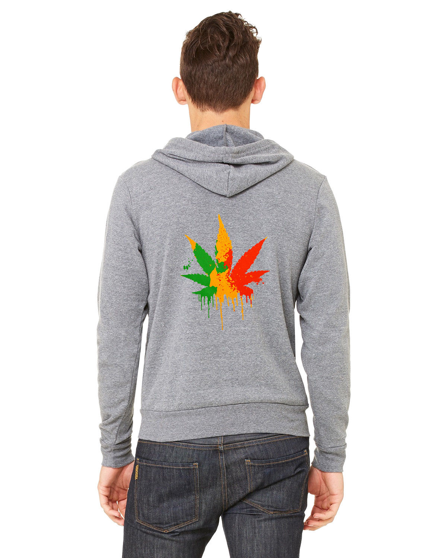 Men's Dripping Rasta Weed Leaf C9 Grey Zipper Hoodie High Blunt Kush Marijuana 1