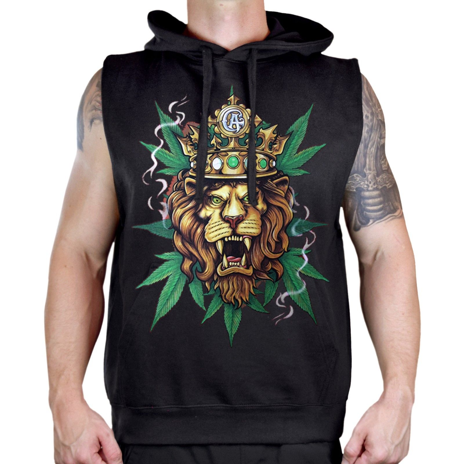 Men's King Of Weed Lion Sleeveless Vest Hoodie Reggae Rasta Blunt Kush Cannabis 1