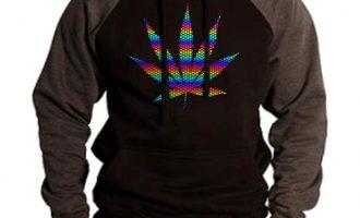 Men's Rainbow Foil Polka Dot Weed Leaf Black/Charcoal Raglan Hoodie Cannabis 7