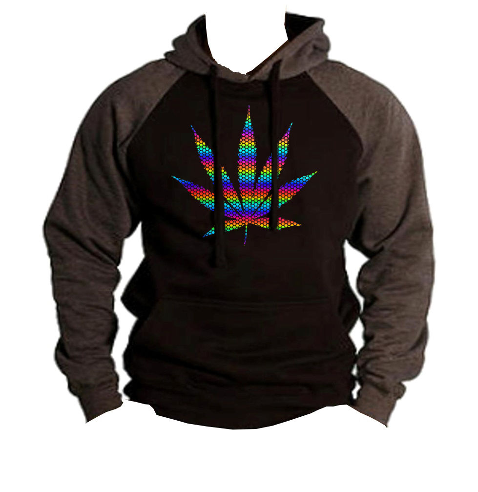 Men's Rainbow Foil Polka Dot Weed Leaf Black/Charcoal Raglan Hoodie Cannabis 1
