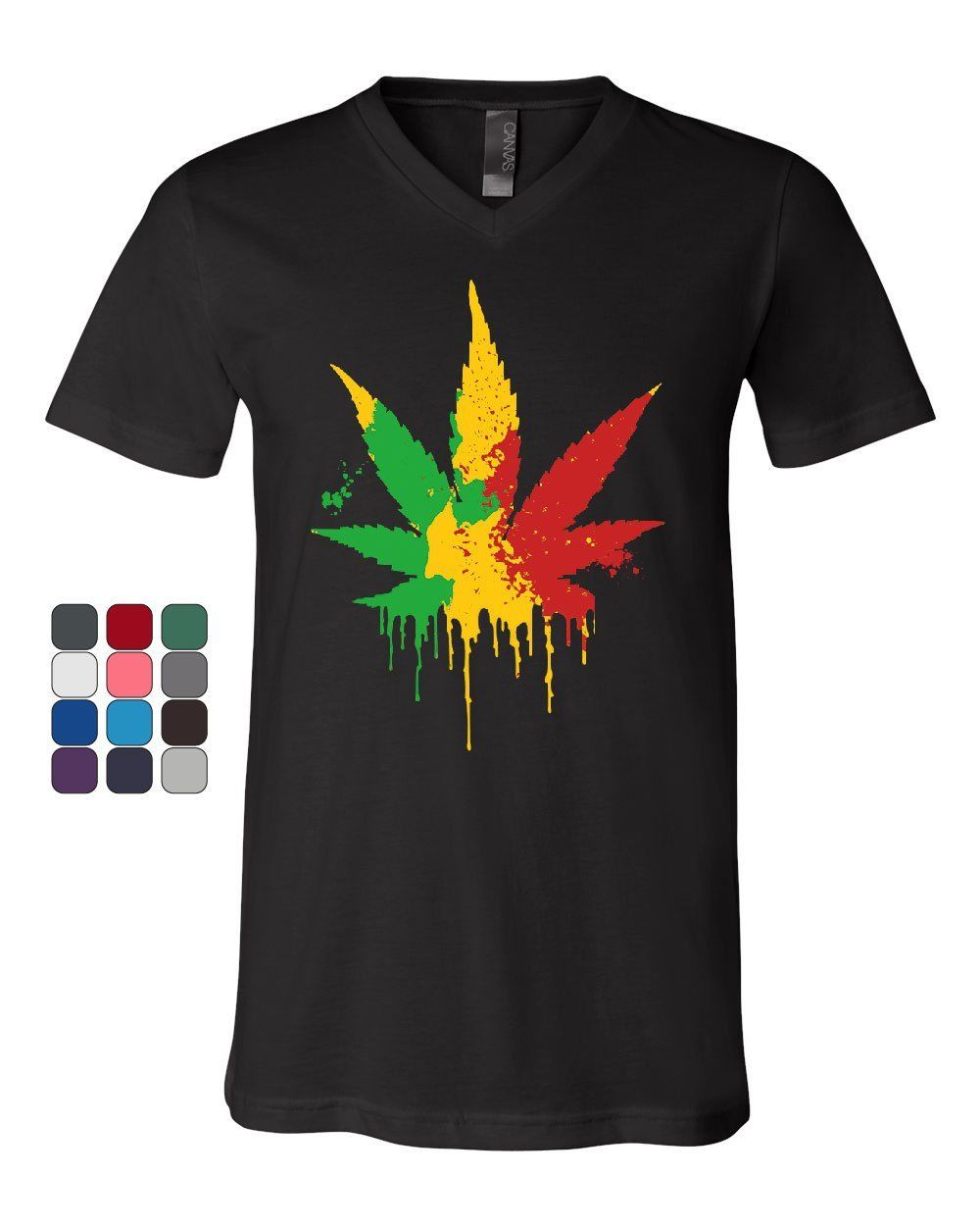 Pot Leaf Rasta V-Neck T-Shirt 420 Weed Smoking cigarettes Reggae Cannabis 1