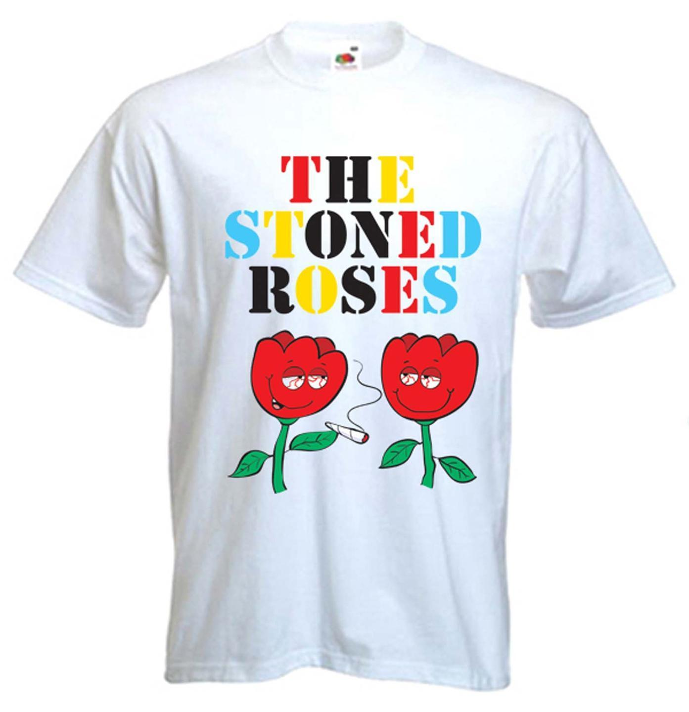 THE STONED ROSES T-SHIRT - Cannabis Festival Stone Smoking Bong Marijuana 1