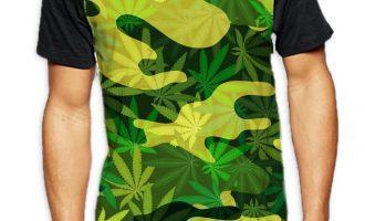 Camouflage Cannabis Leaves Men's All Over Baseball T Shirt - Stoner Marijuana 11