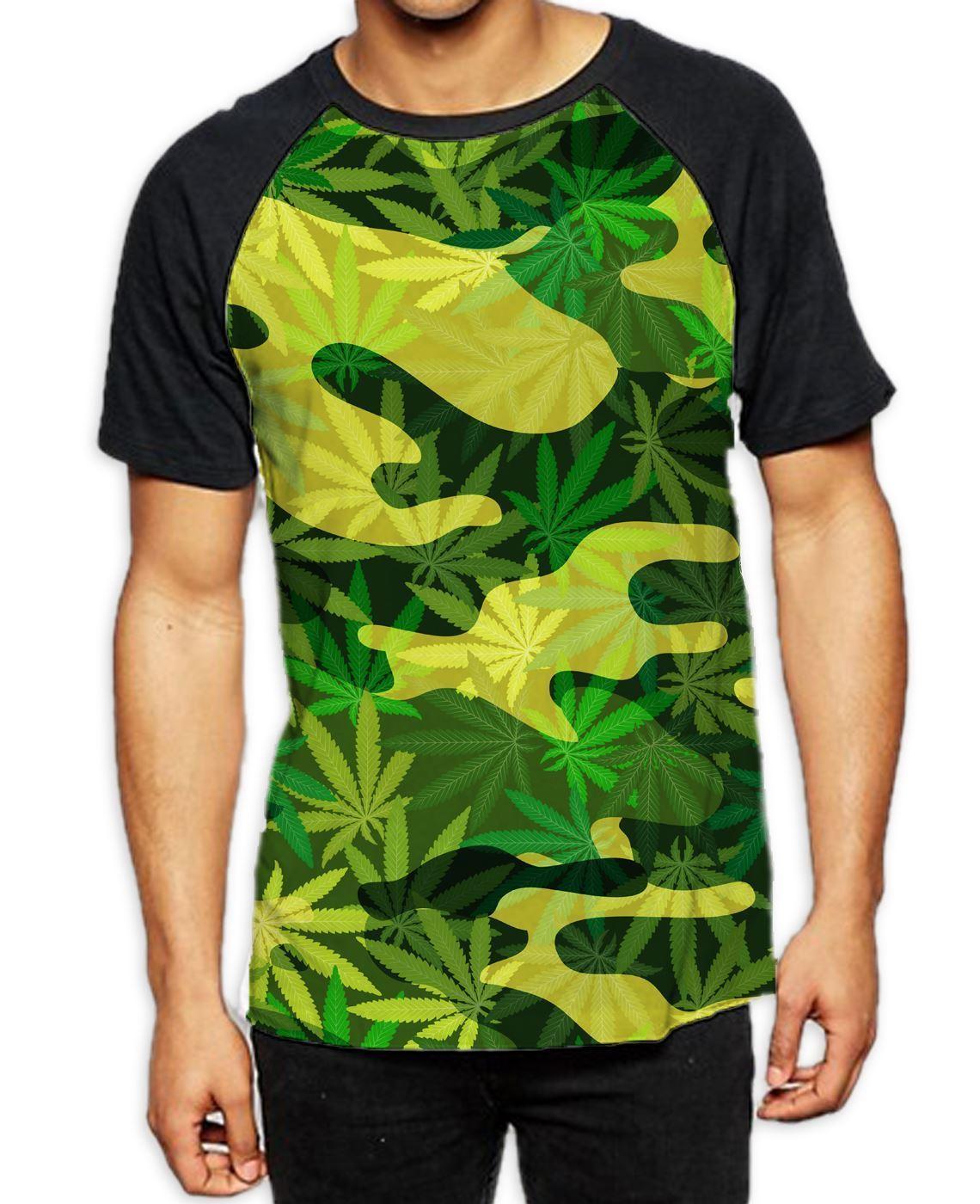 Camouflage Cannabis Leaves Men's All Over Baseball T Shirt - Stoner Marijuana 1