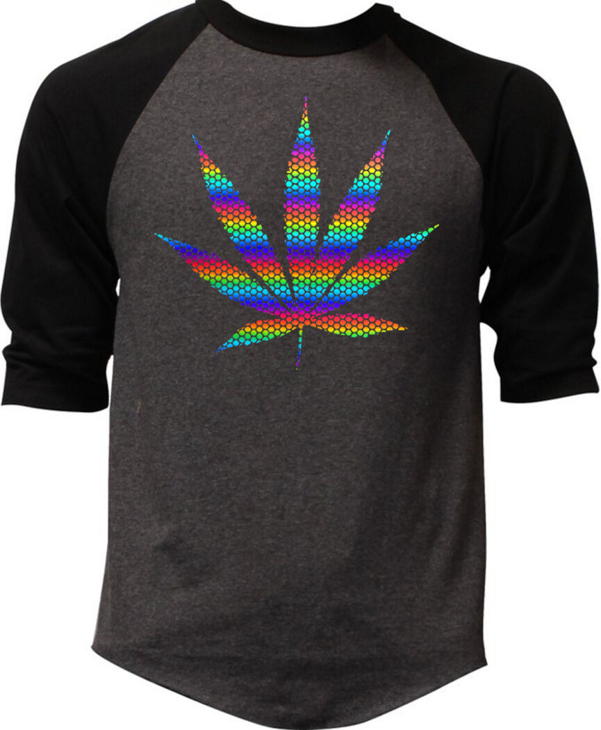 Mens Rainbow Foil Polka Dot Weed Leaf Charcoal Baseball Raglan T Shirt Marijuana 1