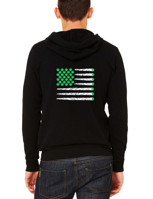 Men's Weed Leaf US Flag C9 Black Zipper Hoodie High Blunt Kush America Marijuana 1