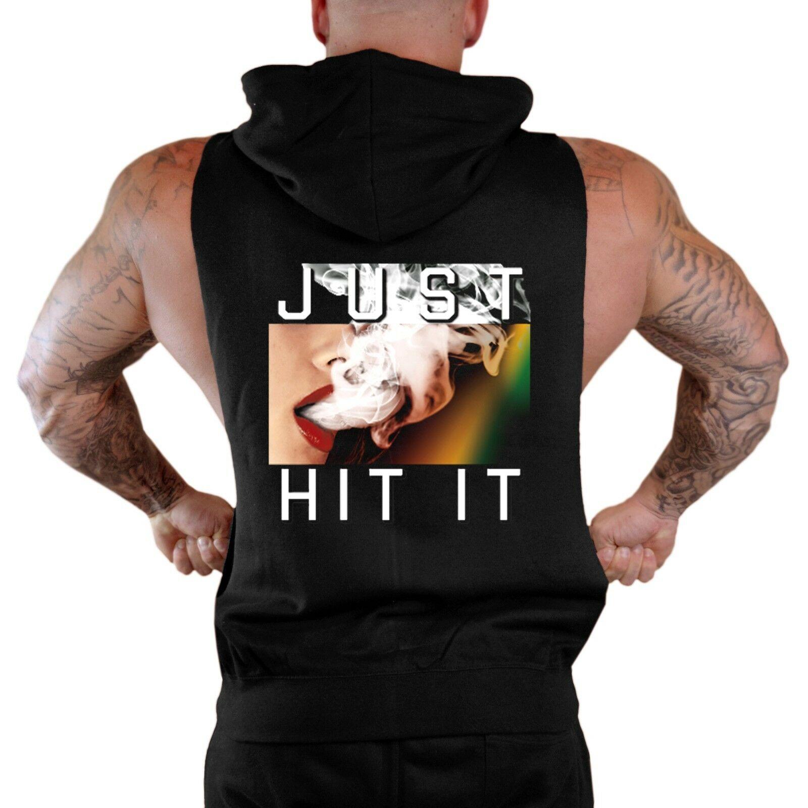New Men's Just Hit It Black Sleeveless Zipper Hoodie Vest Weed Blunt Marijuana 1