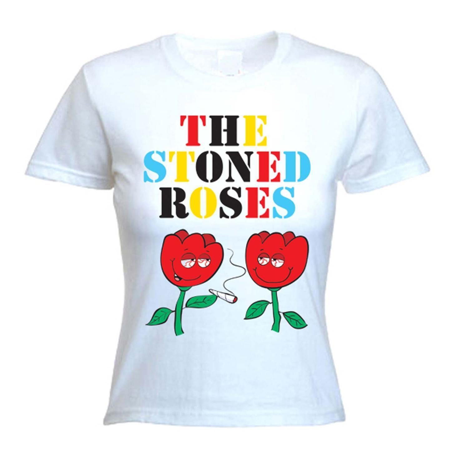 STONED ROSES WOMEN'S T-SHIRT - Cannabis Festival Stone Smoking Bong Marijuana 1