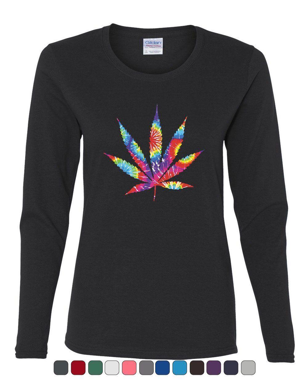 Tie Dye Pot Leaf Women's Long Sleeve Tee Smoking 420 Weed Cannabis Marijuana 1