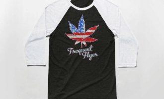 Frequent Flyer 3/4 Sleeve Baseball T Shirt - Vintage Cotton/Poly Tee - Marijuana 12