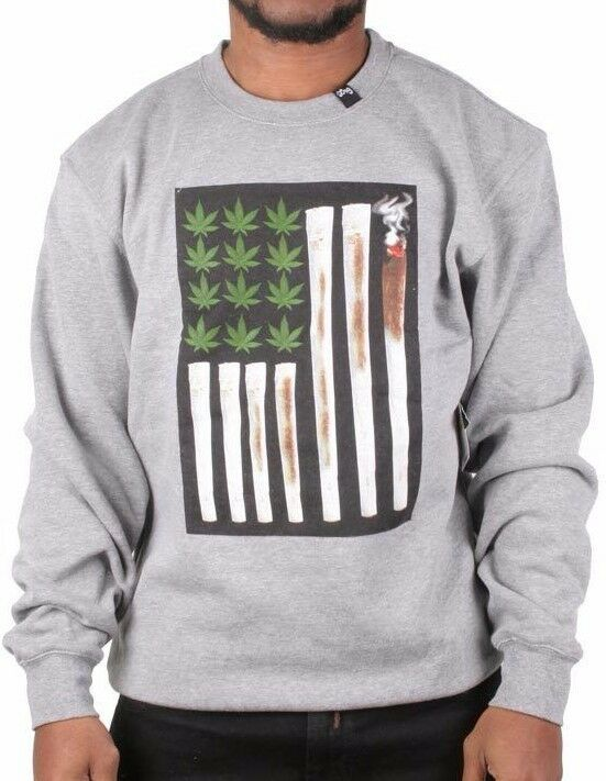 L-R-G LRG Heather Grey Joint Chiefs of Staff Crewneck Sweatshirt Weed Marijuana 1