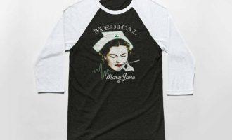 Medical Mary Jane 3/4 Sleeve Baseball T Shirt - Cotton/Poly Tee - Marijuana 7