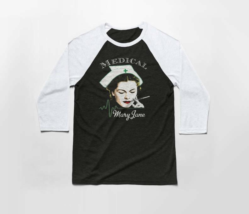 Medical Mary Jane 3/4 Sleeve Baseball T Shirt - Cotton/Poly Tee - Marijuana 1