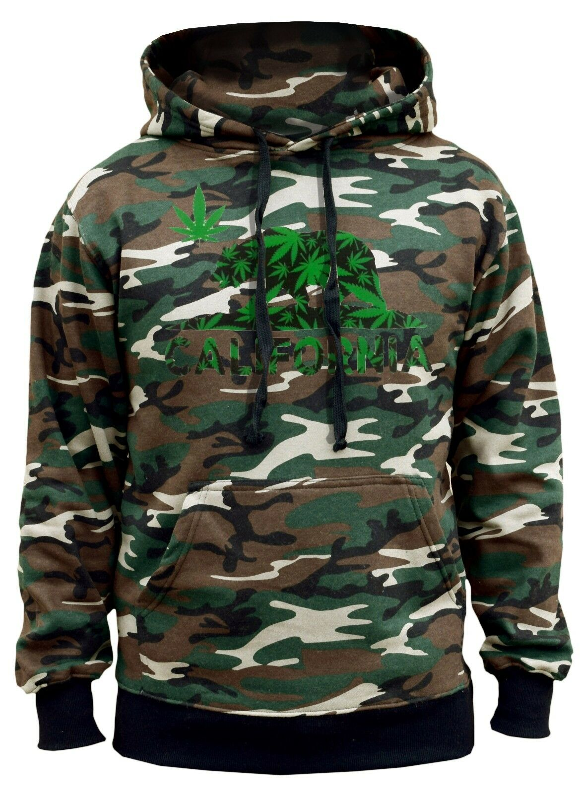 Men's California Republic Weed Leaf Bear Camo Hoodie Cali Life Blunt Marijuana 1