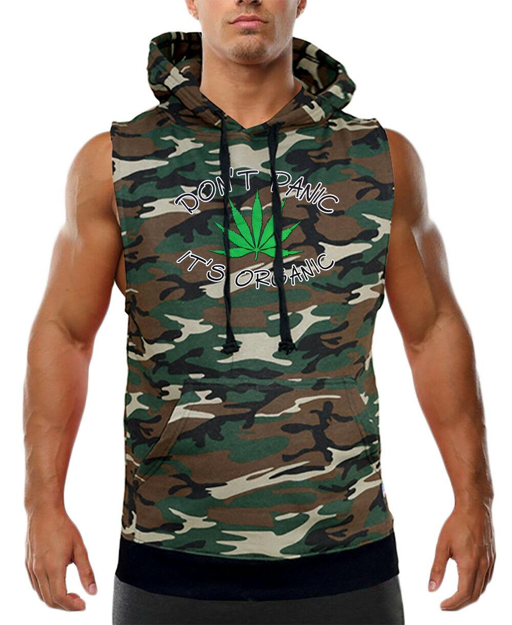 Men's Don't Panic It's Organic Camo Sleeveless Vest Hoodie High Weed Marijuana 1