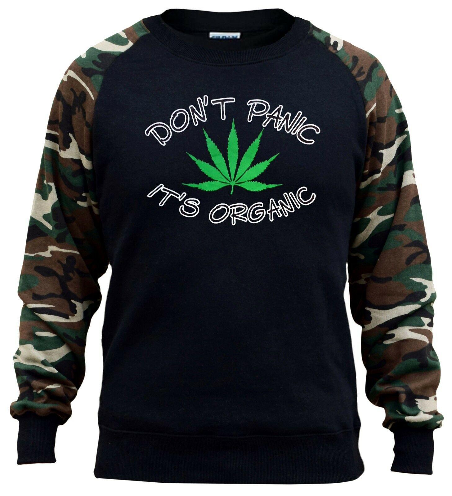 Men's Don't Panic It's Organic Weed Camo Raglan Sweatshirt Kush Blunt Marijuana 1