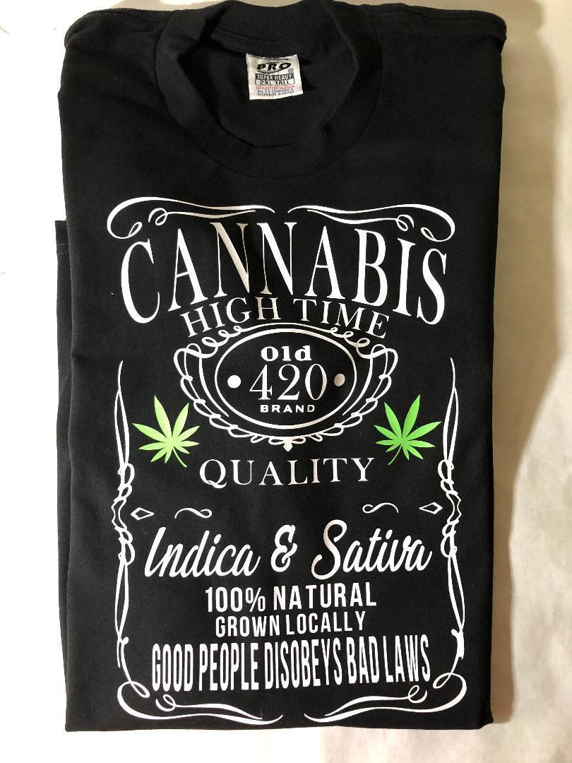 MENS HIGH TIMES 420 CANNABIS T SHIRT WEED JACK DANIELS DESIGN MARIJUANA 1