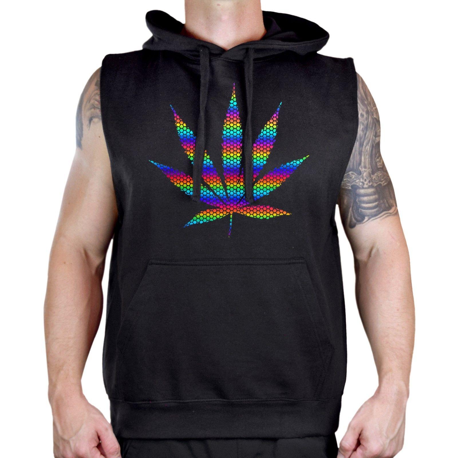 Men's Rainbow Foil Polka Dot Weed Leaf Black Sleeveless Vest Hoodie Marijuana 1