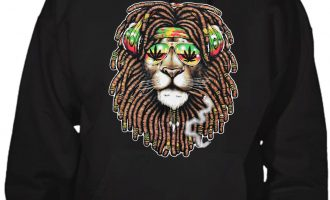 Men's Smoking Rasta Lion Black Hoodie Sweater Jamaica Weed Blunt Kush Marijuana 4