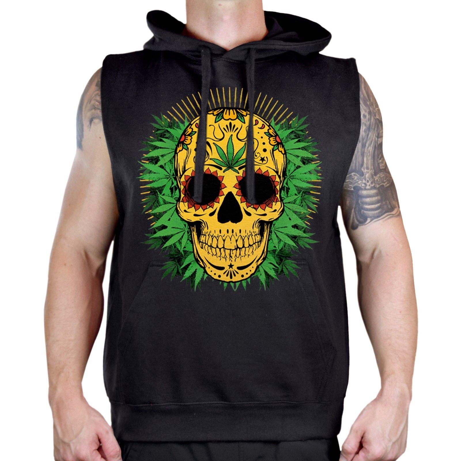 New Men's 420 Sugars Skull Weed Leaf Sleeveless Vest Hoodie Blunt Kush Marijuana 1