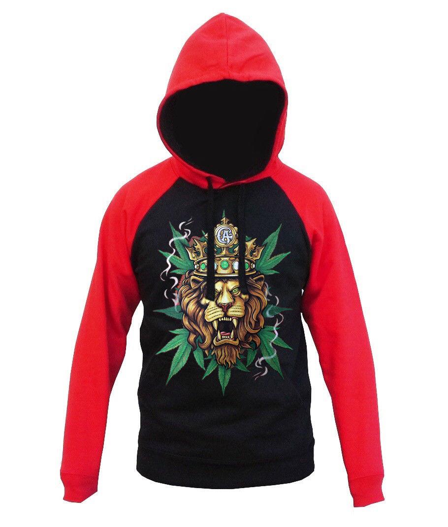 New Men's King Of Weed Lion Red Raglan Hoodie Rasta Ganja Blunt Kush Marijuana 1