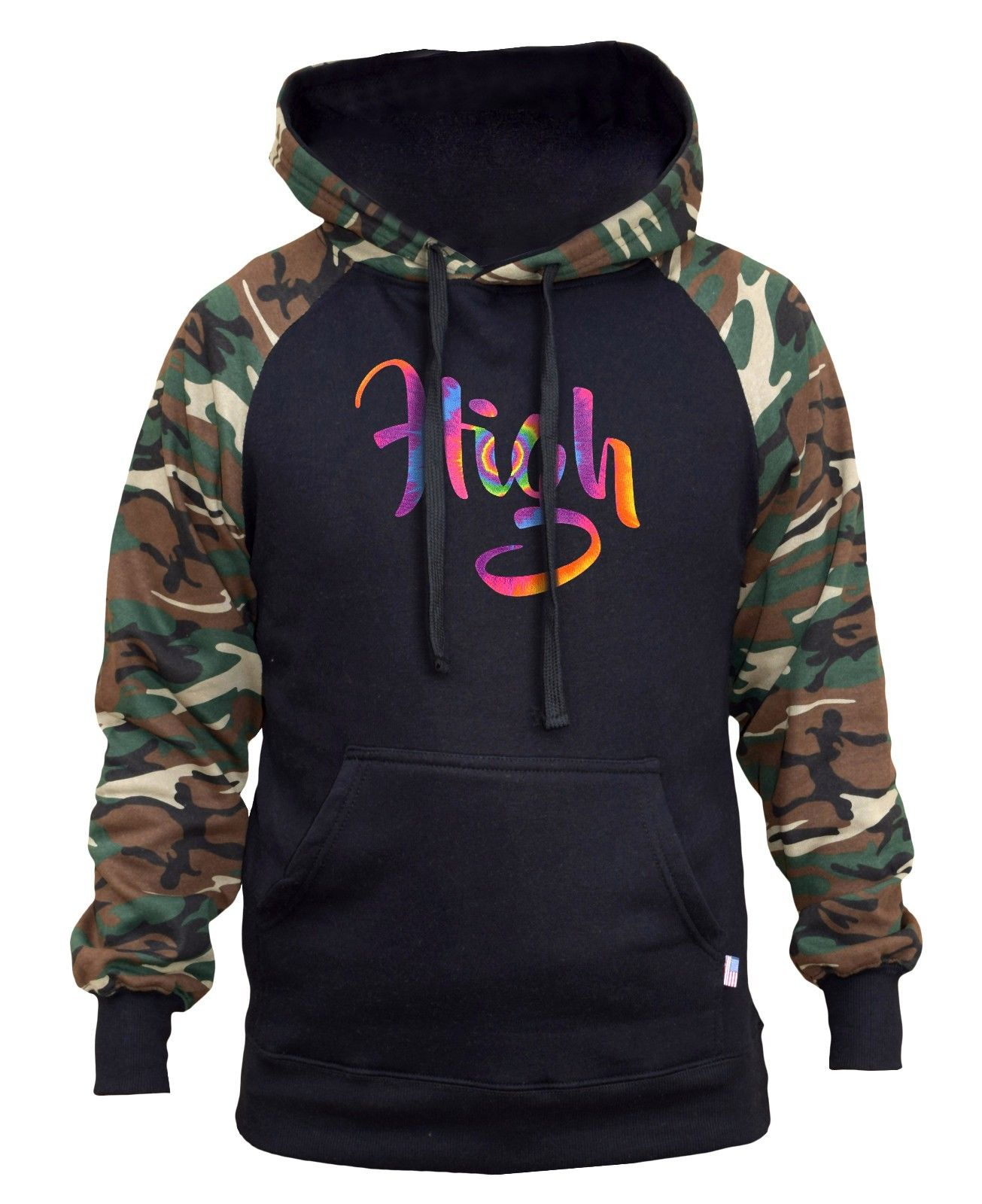 New Men's Neon Tie Dye High Camo/Black Raglan Hoodie Galaxy Weed Blunt Marijuana 1