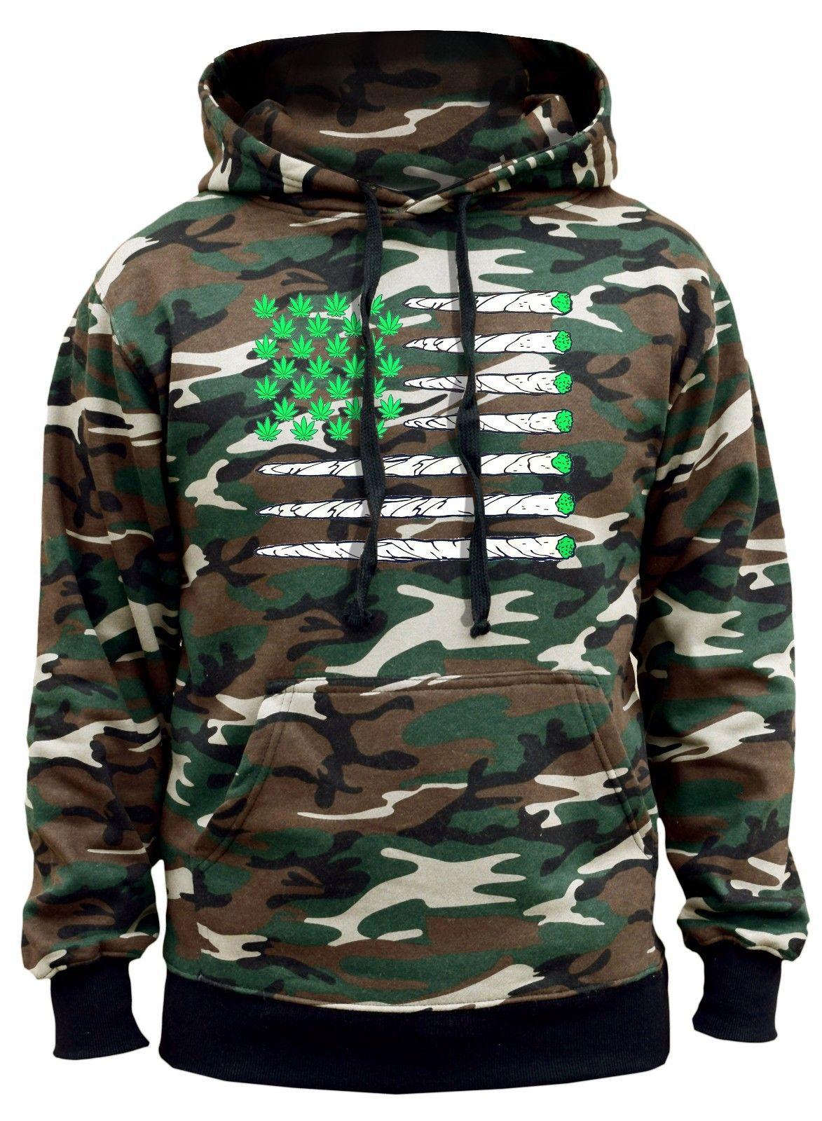 New Men's USA Weed Flag Hoodie Sweater American Pride High Blunt Kush Marijuana 1