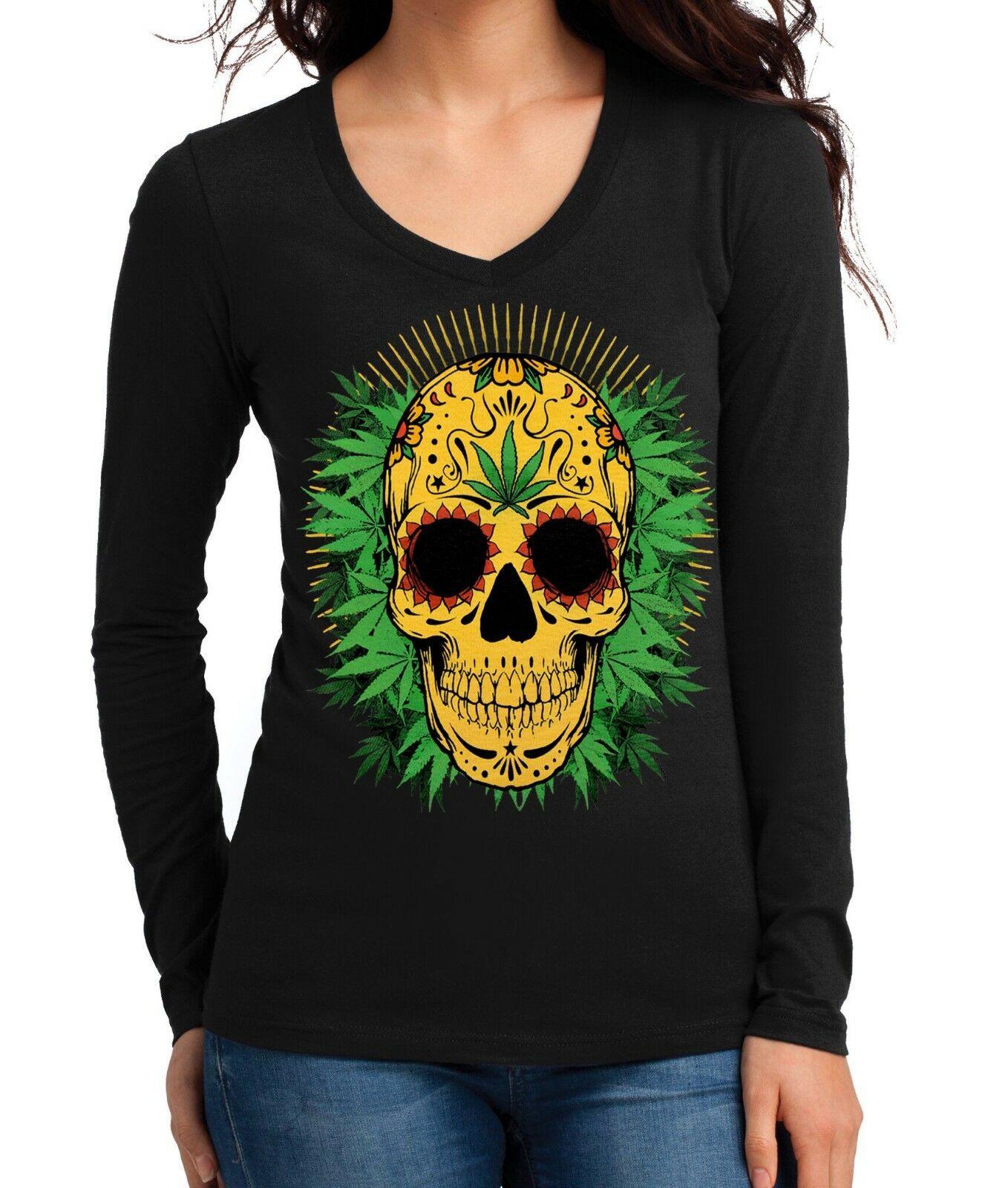 Yellow Weed Leaf Skull 420 Junior's V Neck Long Sleeve T Shirt Blunt Marijuana 1