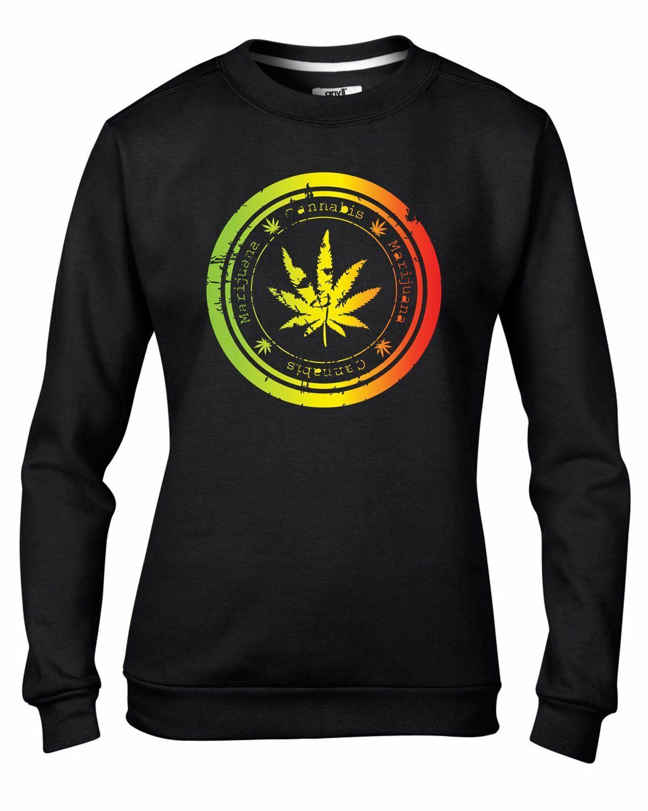 Cannabis Leaf Women's Sweatshirt Jumper - Weed Skunk Marijuana 1