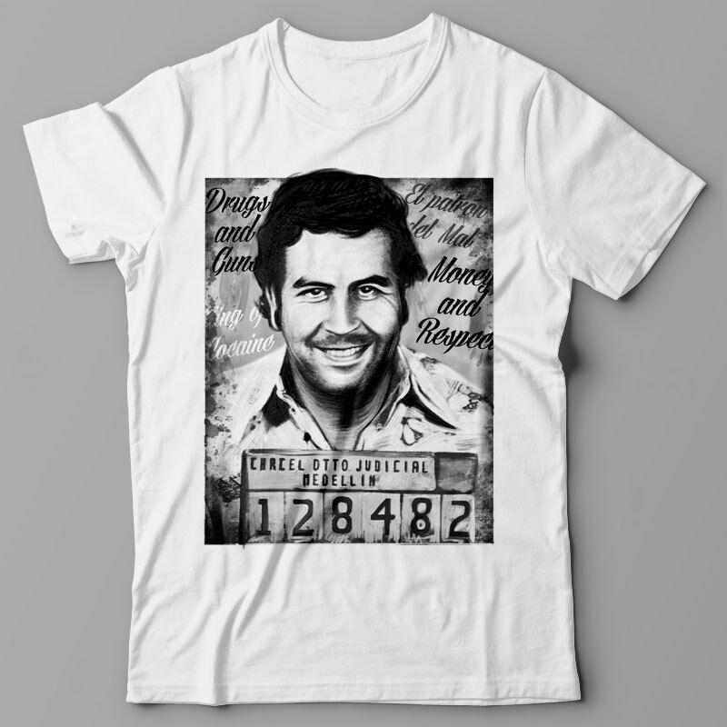 PABLO ESCOBAR MUGSHOT T shirt - Narcos cocaine weed cannabis marijuana 1