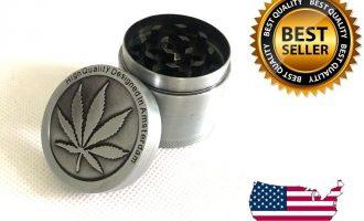 4 Piece Herb Grinder Spice Tobacco/Weed Smoke Zinc Alloy Crusher Leaf Design 12