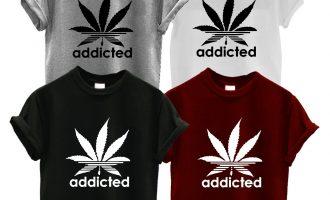 ADDICTED T SHIRT addict spliff weed CANNABIS WIZ KHALIFA PROSTo MARIJUANA 18