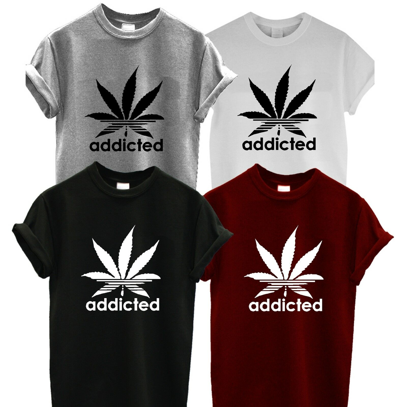 ADDICTED T SHIRT addict spliff weed CANNABIS WIZ KHALIFA PROSTo MARIJUANA 1
