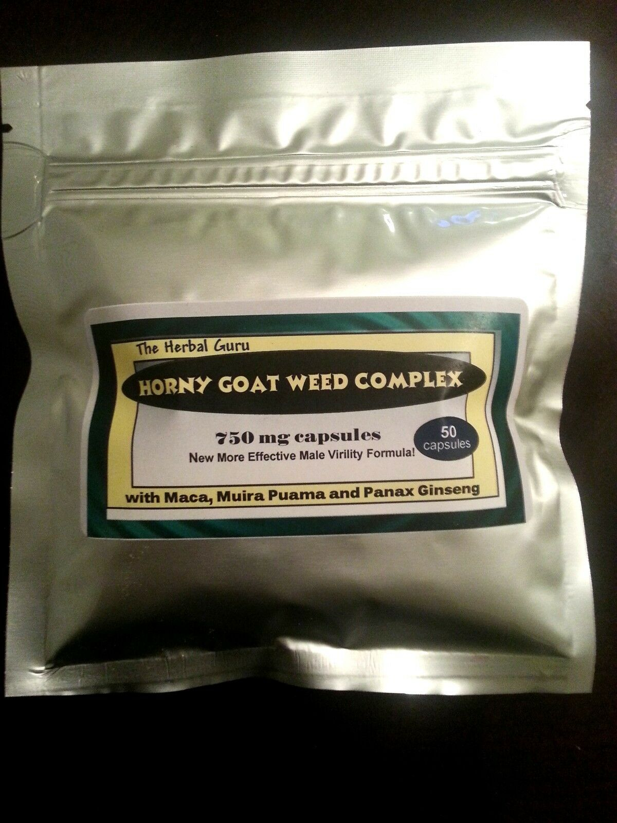 HORNY GOAT WEED Complex Maca, Muira Puama Panax Ginseng 50 count 1000mg Capsules 1