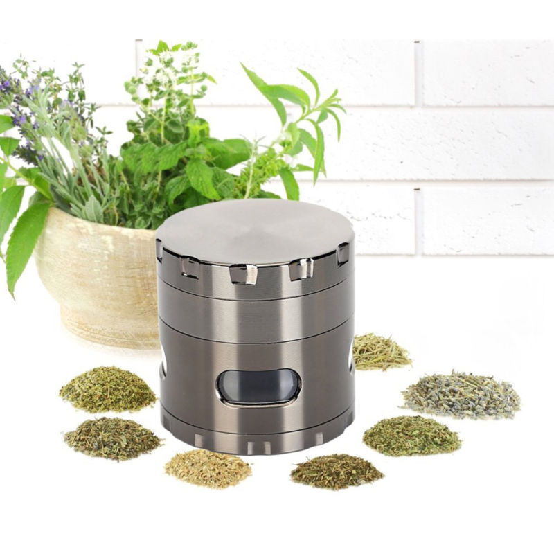 "HOT Spice Tobacco Herb Weed Grinder-4 Pcs with Pollen Catcher-2.2"" Gift Black 1"